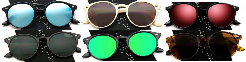 WearMe Pro Classic Gafas de sol retro pequeña y redonda