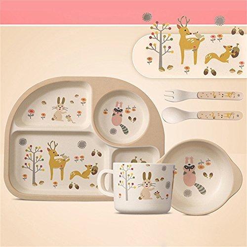 pueri 5pcs set de vajillas y cuberteras de bamb infantiles para bebs nios 2