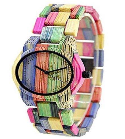 Reloj de madera bewell de colores