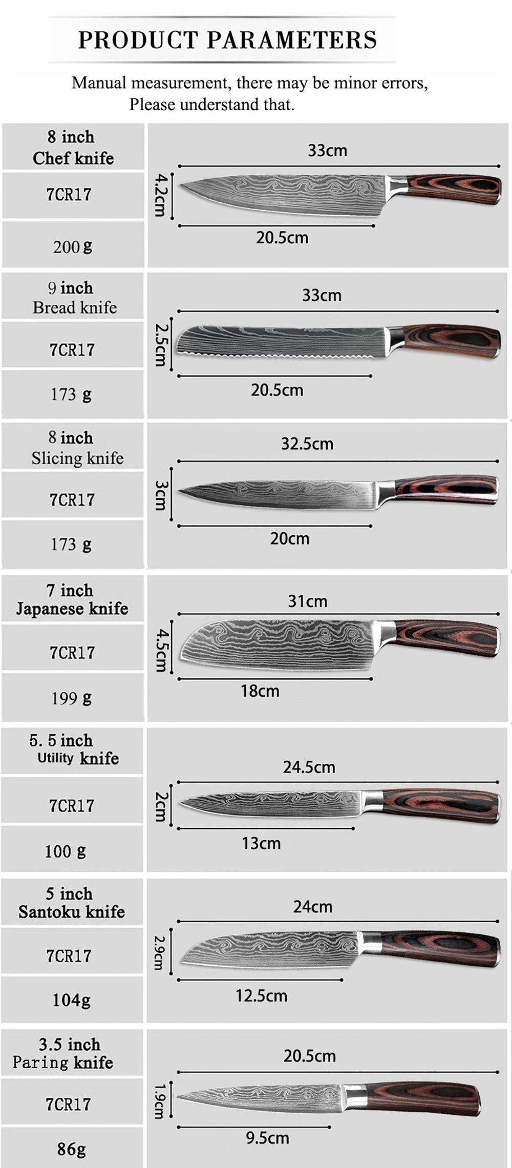 Medidas de los Cuchillos de Cocina Xituo